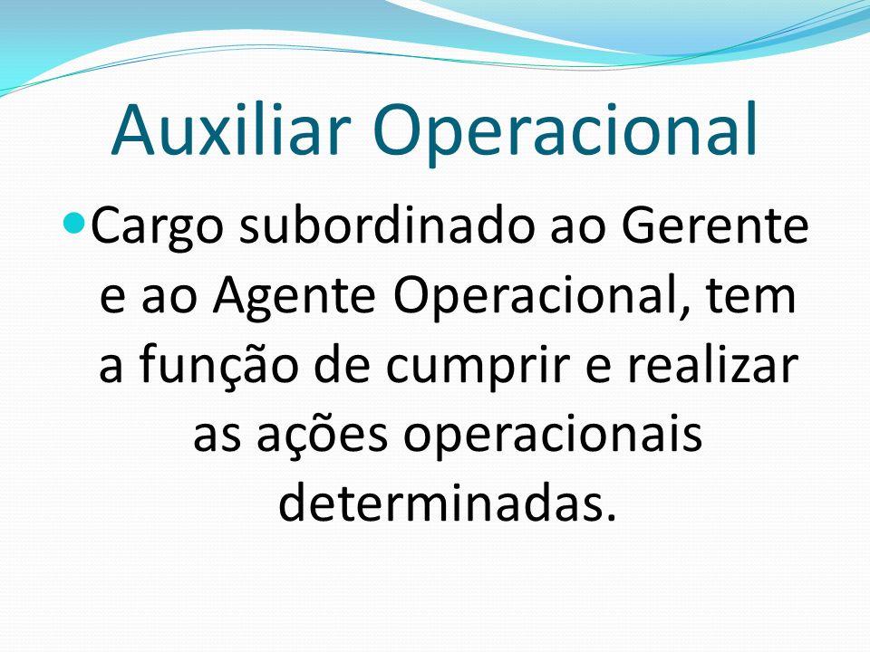 Auxiliar OperacionalCargo subordinado ao Gerente e ao Agente Operacional, tem a função de cumprir e realizar as ações operacionais determinadas.