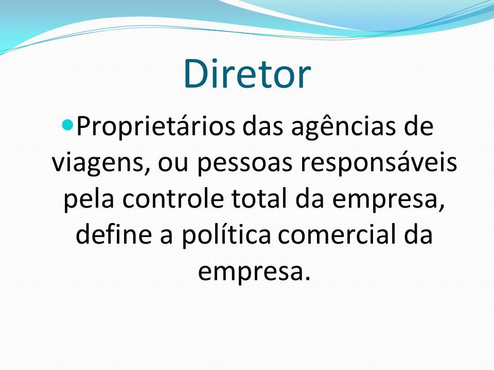 DiretorProprietários das agências de viagens, ou pessoas responsáveis pela controle total da empresa, define a política comercial da empresa.