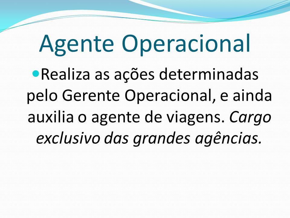 Agente OperacionalRealiza as ações determinadas pelo Gerente Operacional, e ainda auxilia o agente de viagens.