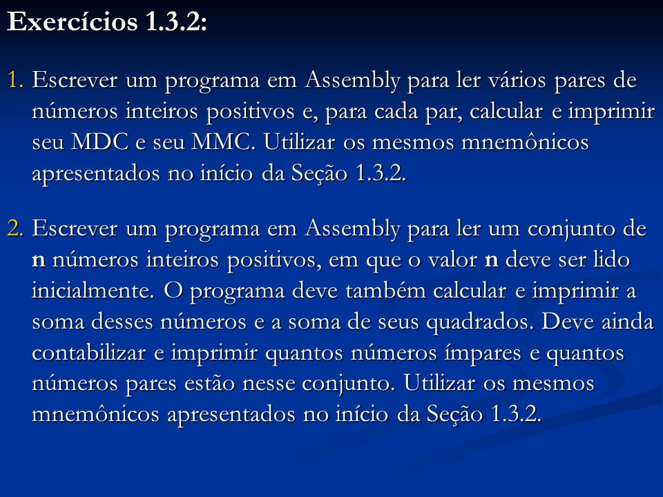 Exercícios 1.3.2: