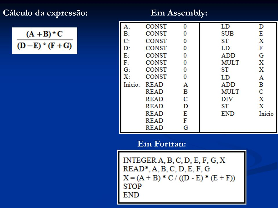 Cálculo da expressão: Em Assembly: Em Fortran: