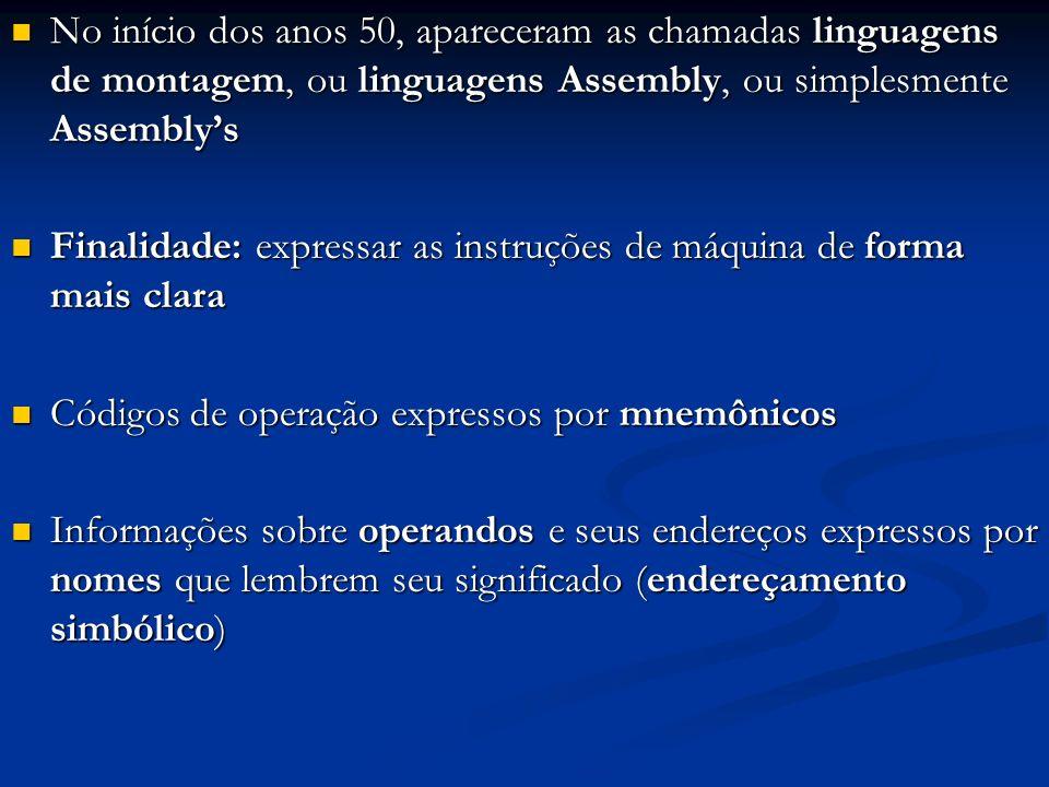 No início dos anos 50, apareceram as chamadas linguagens de montagem, ou linguagens Assembly, ou simplesmente Assembly's