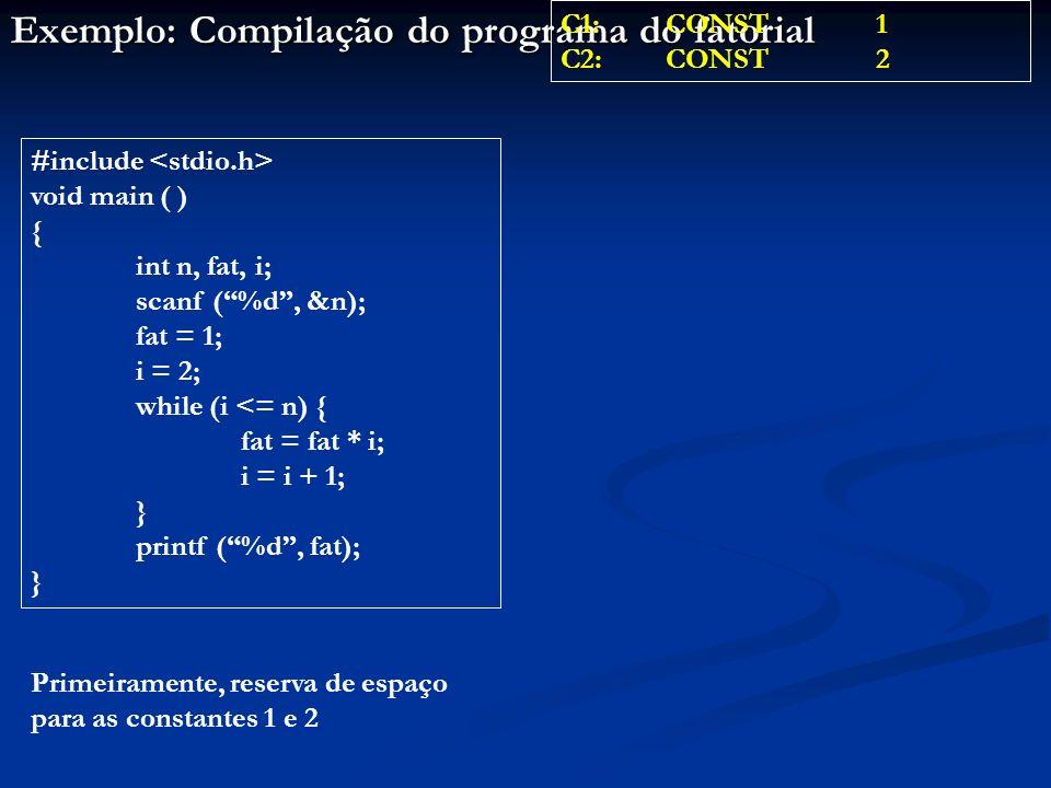 Exemplo: Compilação do programa do fatorial