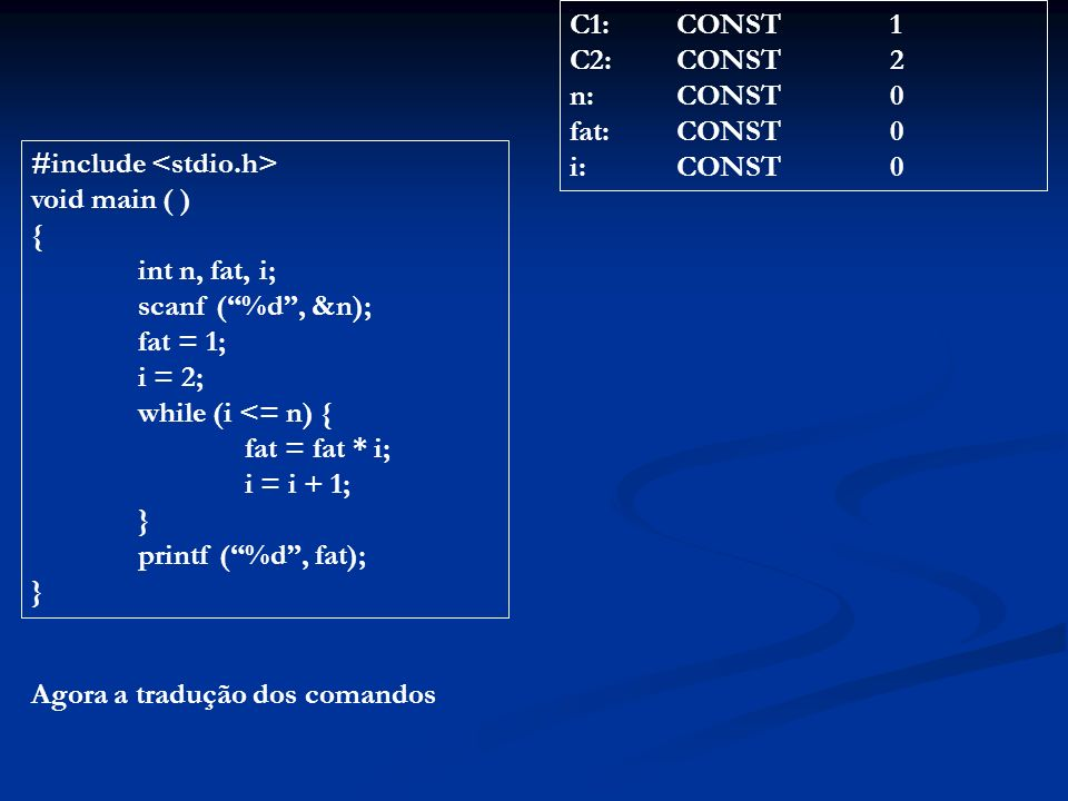 C1: CONST 1 C2: CONST 2. n: CONST 0. fat: CONST 0. i: CONST 0. #include <stdio.h> void main ( )