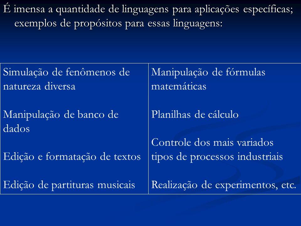 É imensa a quantidade de linguagens para aplicações específicas; exemplos de propósitos para essas linguagens: