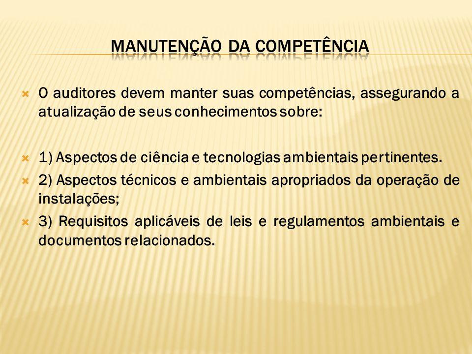 MANUTENÇÃO DA COMPETÊNCIA