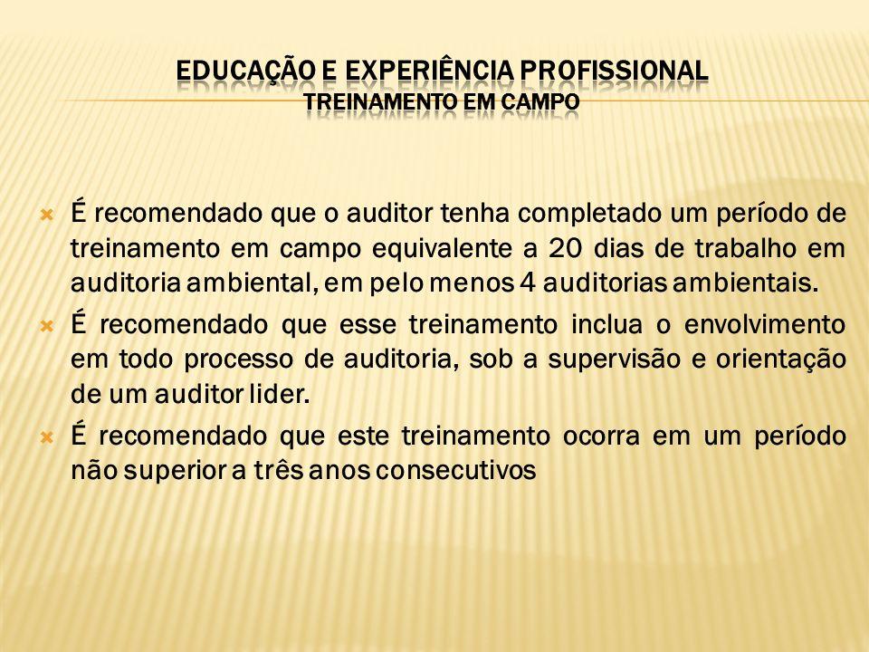 EDUCAÇÃO E EXPERIÊNCIA pROFISSIONAL treinamento em campo