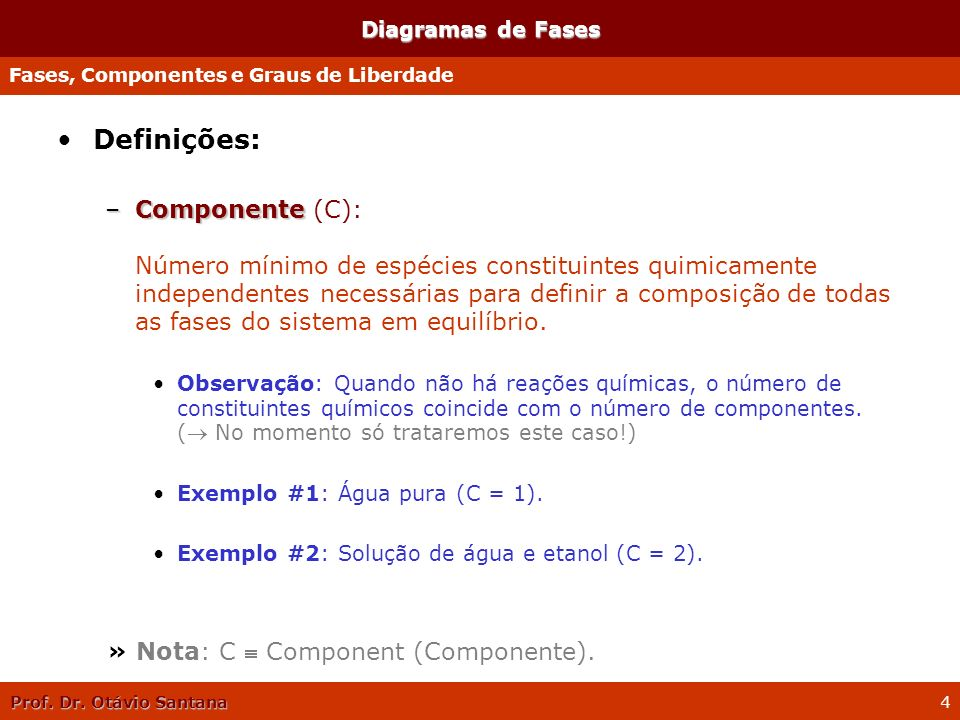 Diagramas de FasesFases, Componentes e Graus de Liberdade. Definições: