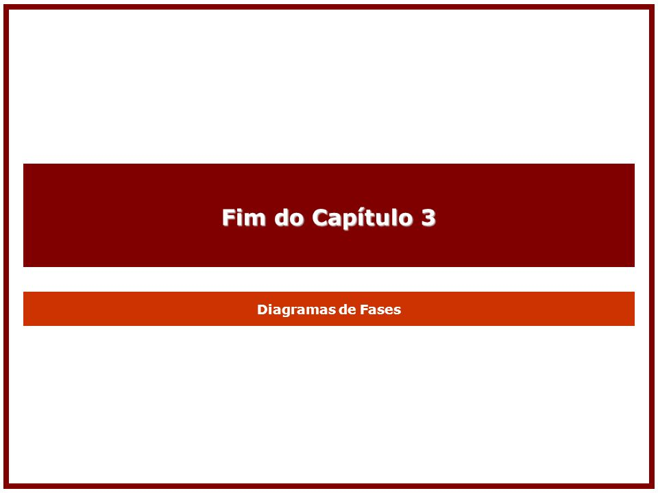Fim do Capítulo 3 Diagramas de Fases