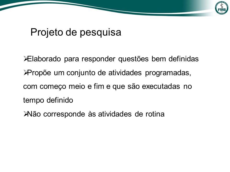 Projeto de pesquisa Elaborado para responder questões bem definidas