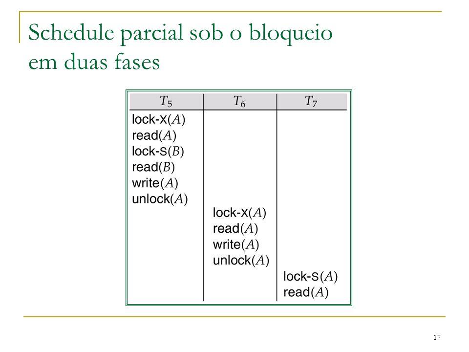 Schedule parcial sob o bloqueio em duas fases
