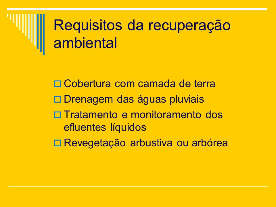 Requisitos da recuperação ambiental