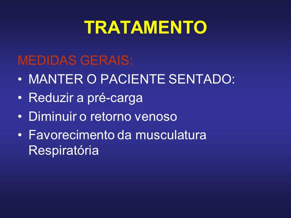 TRATAMENTO MEDIDAS GERAIS: MANTER O PACIENTE SENTADO: