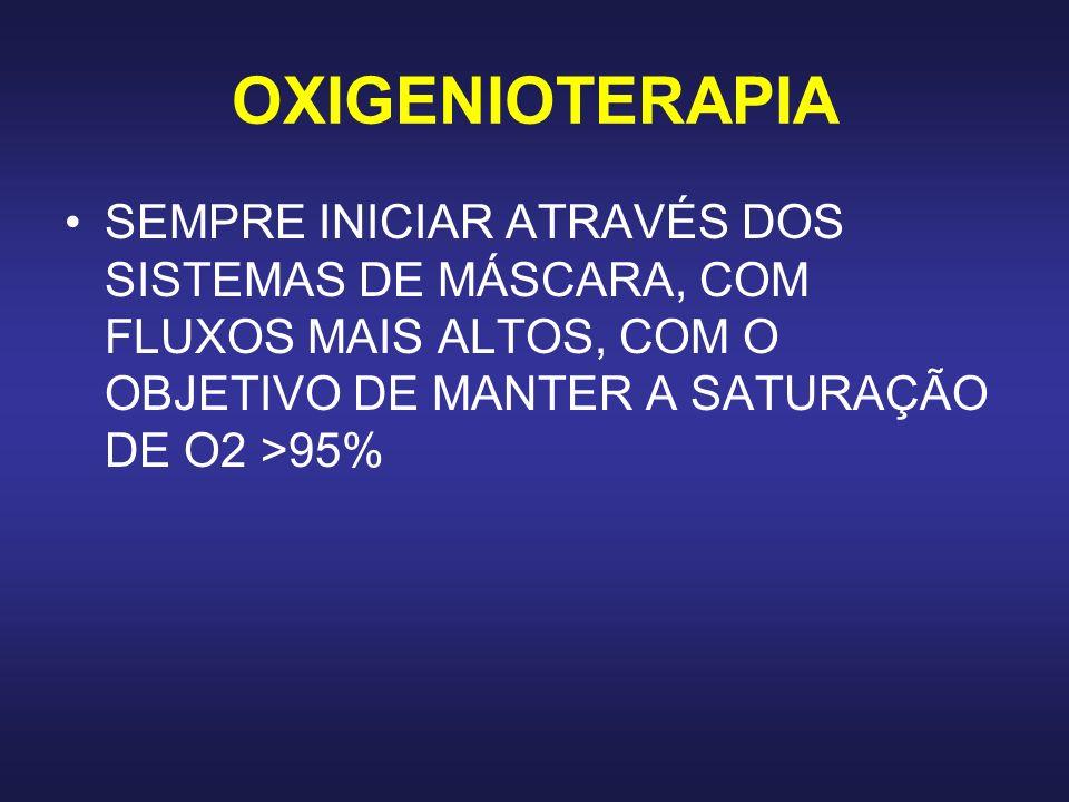 OXIGENIOTERAPIASEMPRE INICIAR ATRAVÉS DOS SISTEMAS DE MÁSCARA, COM FLUXOS MAIS ALTOS, COM O OBJETIVO DE MANTER A SATURAÇÃO DE O2 >95%