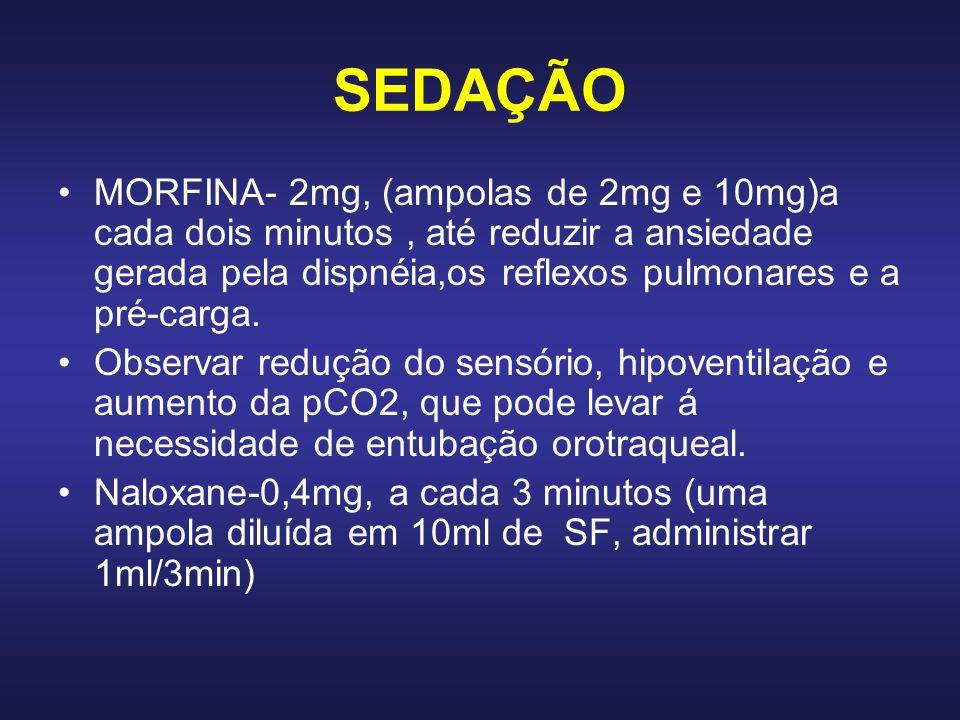 SEDAÇÃO MORFINA- 2mg, (ampolas de 2mg e 10mg)a cada dois minutos , até reduzir a ansiedade gerada pela dispnéia,os reflexos pulmonares e a pré-carga.