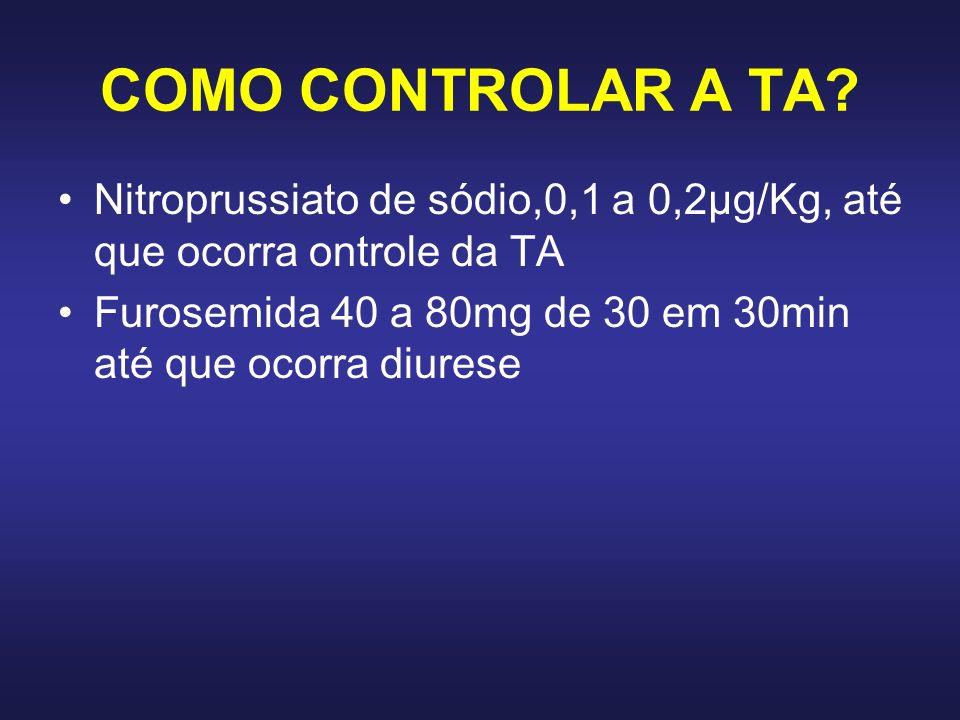 COMO CONTROLAR A TA Nitroprussiato de sódio,0,1 a 0,2μg/Kg, até que ocorra ontrole da TA.