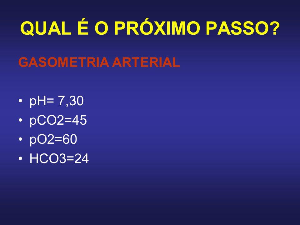 QUAL É O PRÓXIMO PASSO GASOMETRIA ARTERIAL pH= 7,30 pCO2=45 pO2=60
