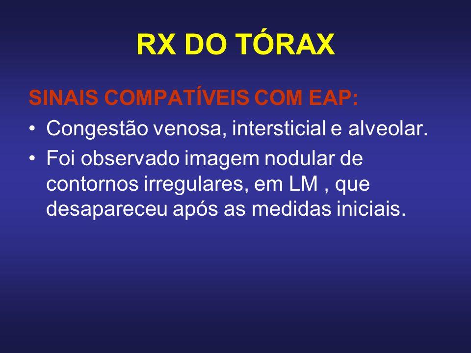 RX DO TÓRAX SINAIS COMPATÍVEIS COM EAP: