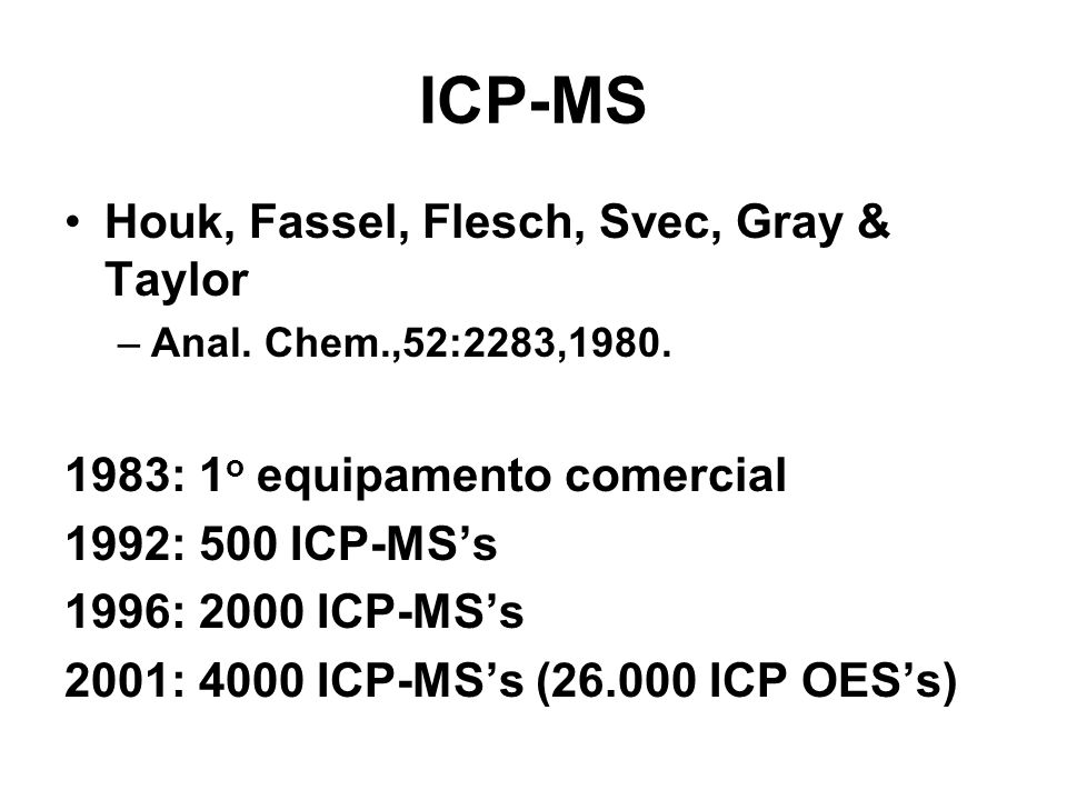 ICP-MS Houk, Fassel, Flesch, Svec, Gray & Taylor