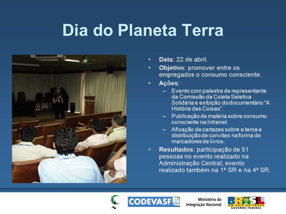 Dia do Planeta Terra Data: 22 de abril.