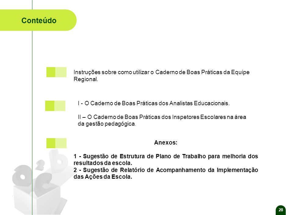 28 Conteúdo. Anexos: 1 - Sugestão de Estrutura de Plano de Trabalho para melhoria dos resultados da escola.