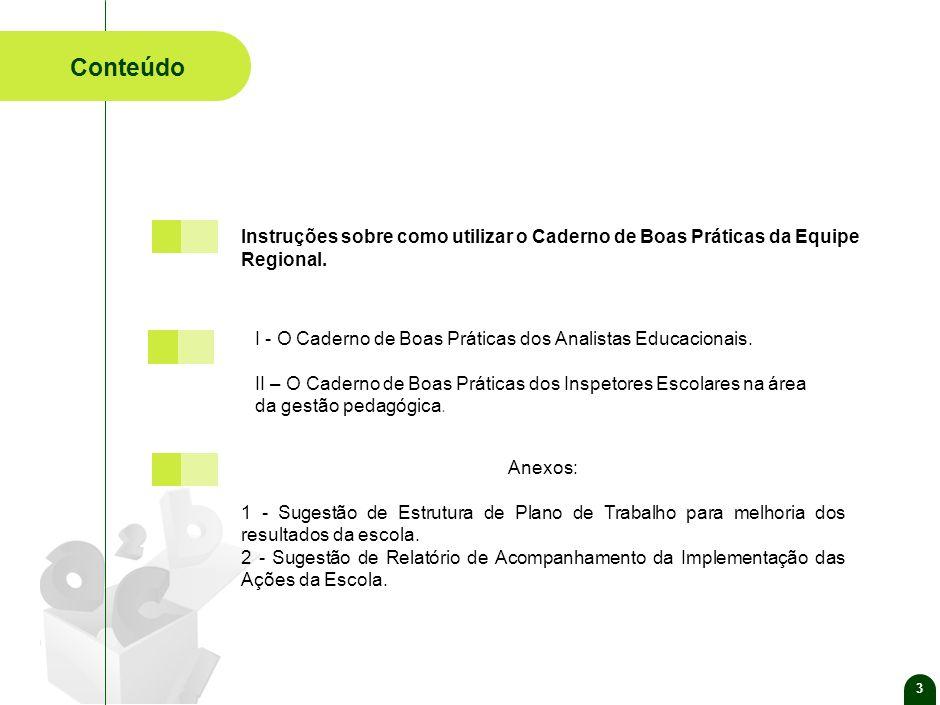 3 Conteúdo. Anexos: 1 - Sugestão de Estrutura de Plano de Trabalho para melhoria dos resultados da escola.