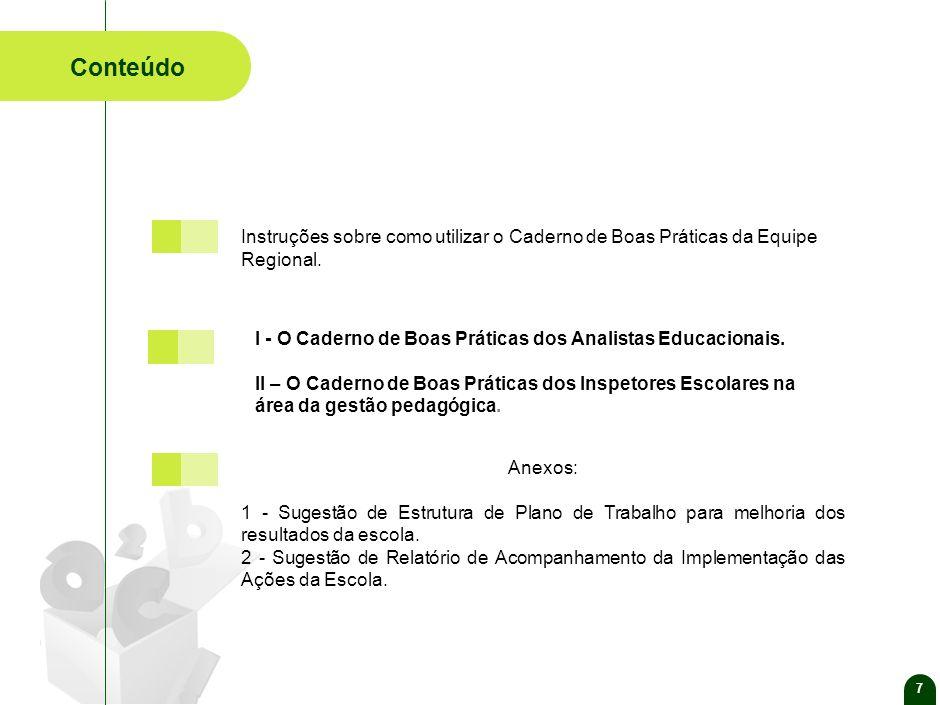 7 Conteúdo. Anexos: 1 - Sugestão de Estrutura de Plano de Trabalho para melhoria dos resultados da escola.