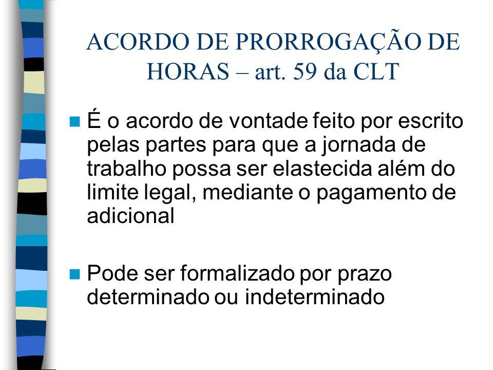ACORDO DE PRORROGAÇÃO DE HORAS – art. 59 da CLT