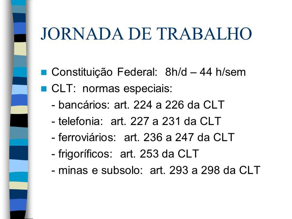 JORNADA DE TRABALHO Constituição Federal: 8h/d – 44 h/sem