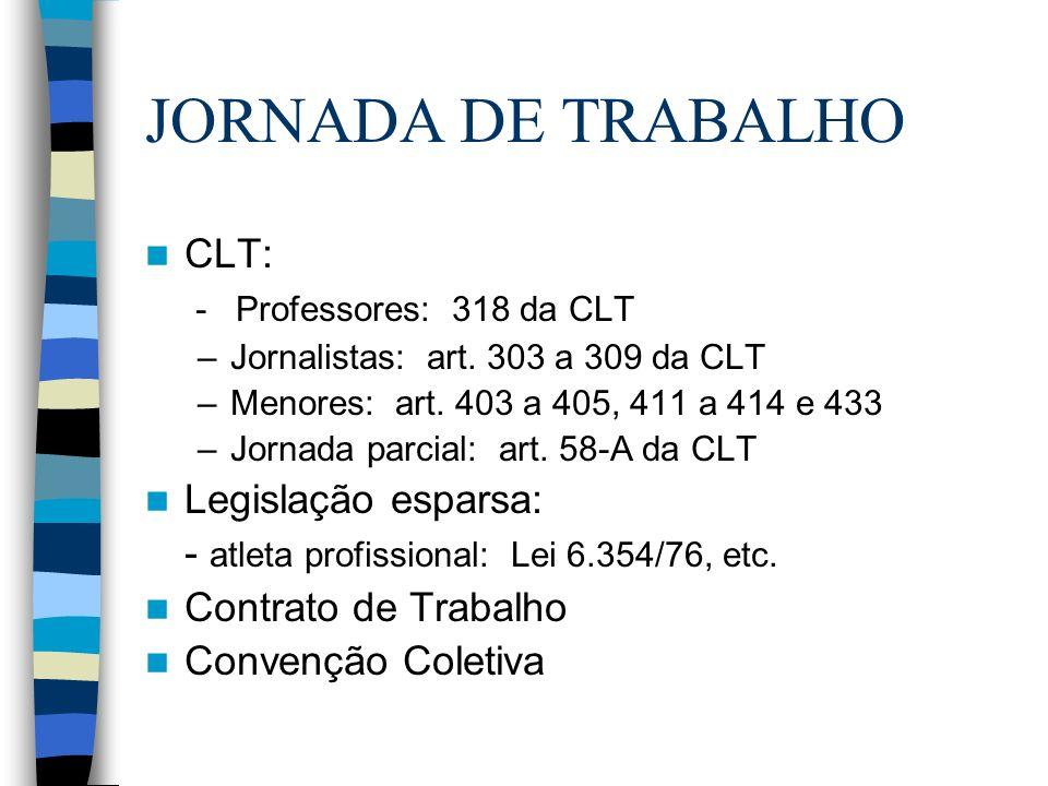 JORNADA DE TRABALHO CLT: - Professores: 318 da CLT Legislação esparsa:
