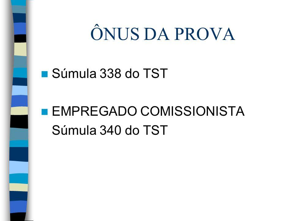 ÔNUS DA PROVA Súmula 338 do TST EMPREGADO COMISSIONISTA