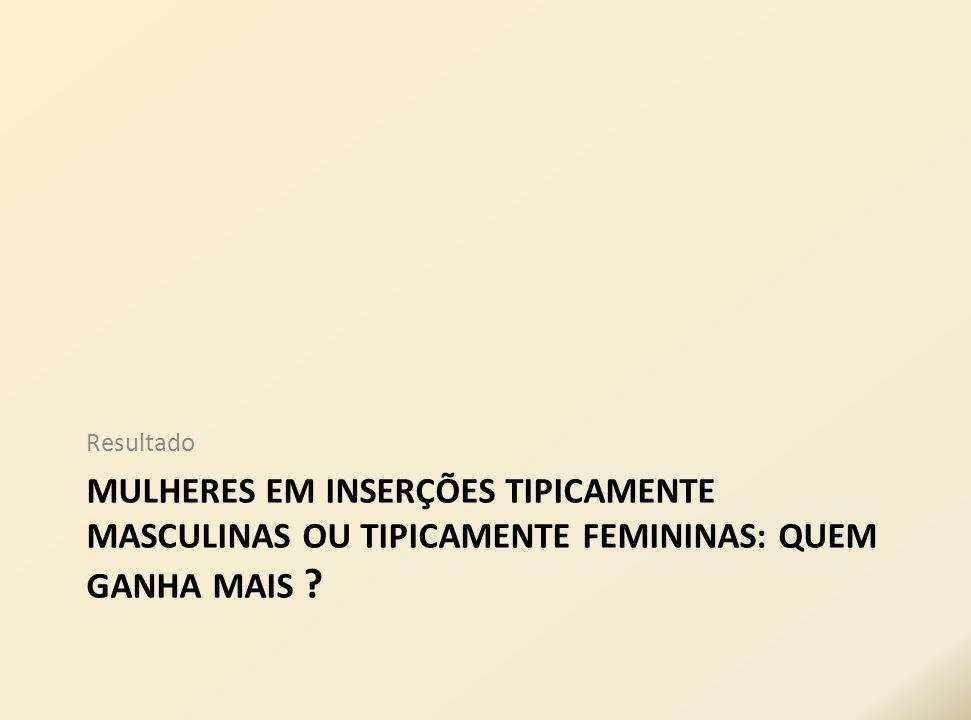 Resultado MULHERES EM INSERÇÕES TIPICAMENTE MASCULINAS OU TIPICAMENTE FEMININAS: QUEM GANHA MAIS