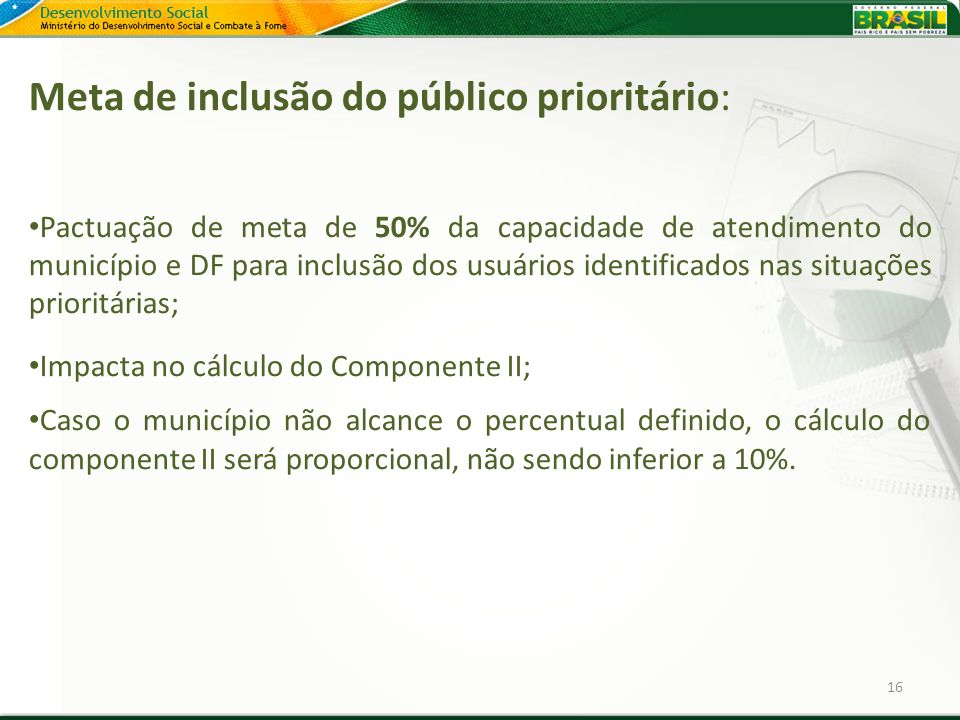 Meta de inclusão do público prioritário: