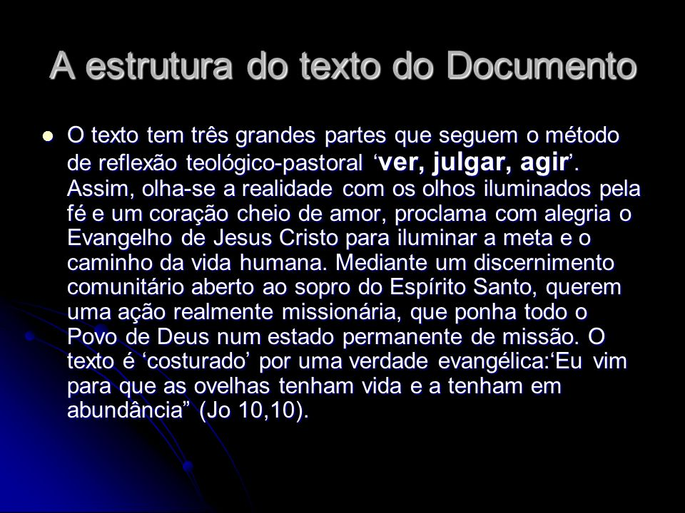 A estrutura do texto do Documento