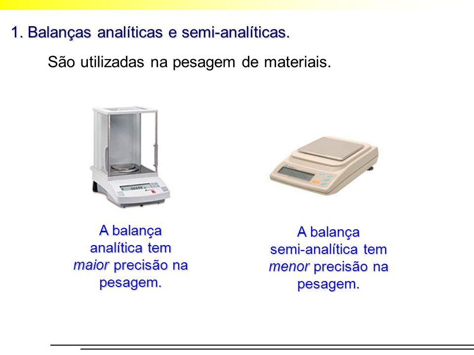 1. Balanças analíticas e semi-analíticas.