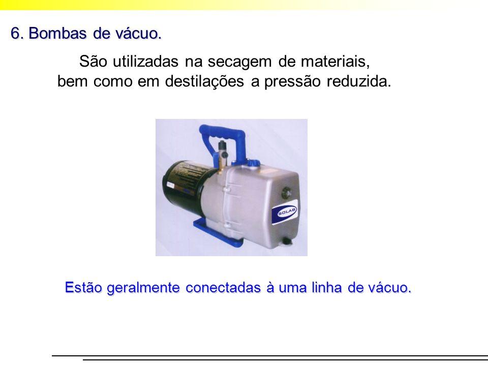 6. Bombas de vácuo. São utilizadas na secagem de materiais, bem como em destilações a pressão reduzida.