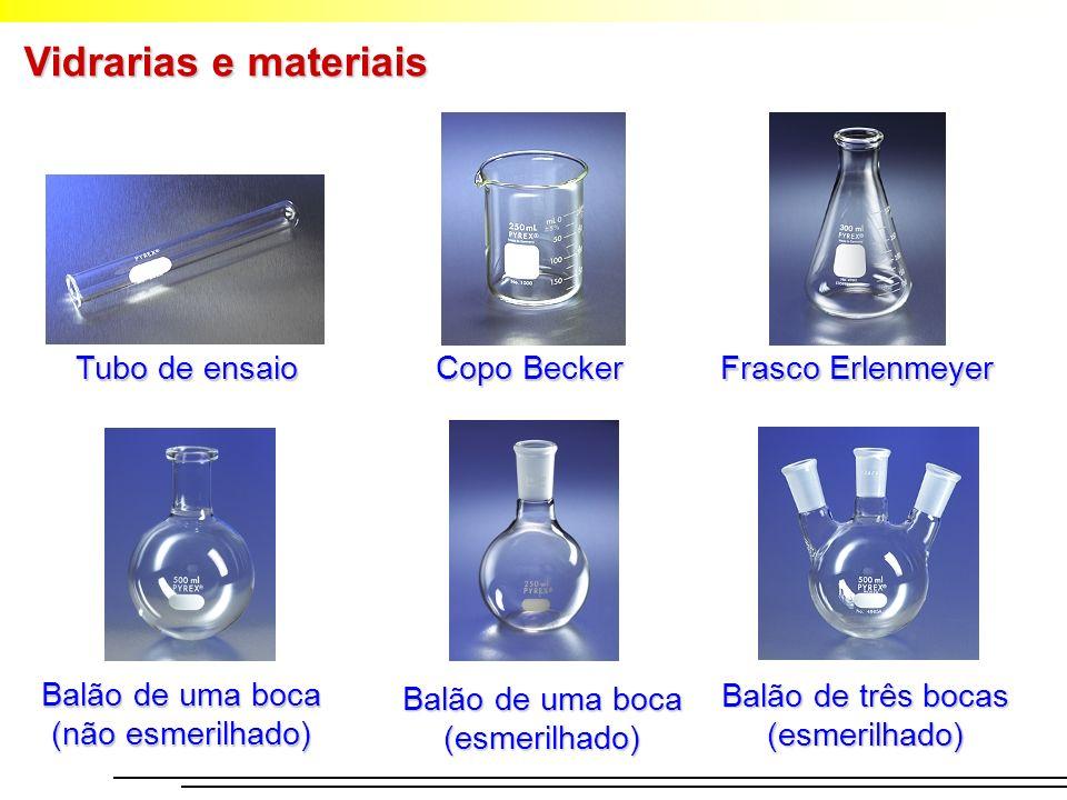 Vidrarias e materiais Tubo de ensaio Copo Becker Frasco Erlenmeyer