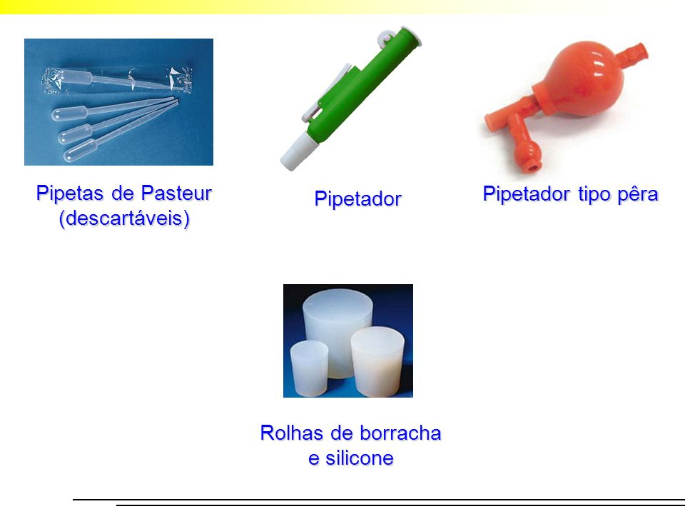 Pipetas de Pasteur (descartáveis) Pipetador tipo pêra Pipetador