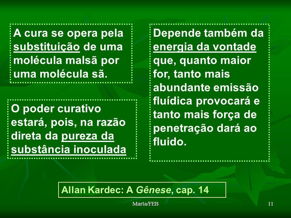 A cura se opera pela substituição de uma molécula malsã por uma molécula sã.