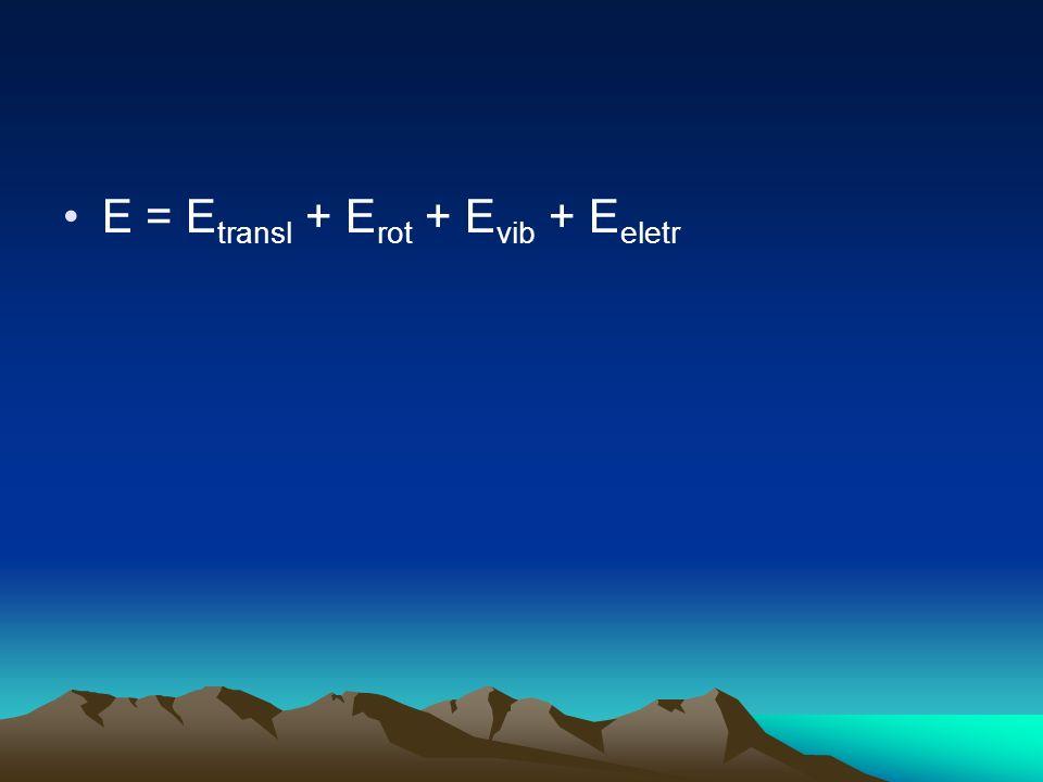 E = Etransl + Erot + Evib + Eeletr