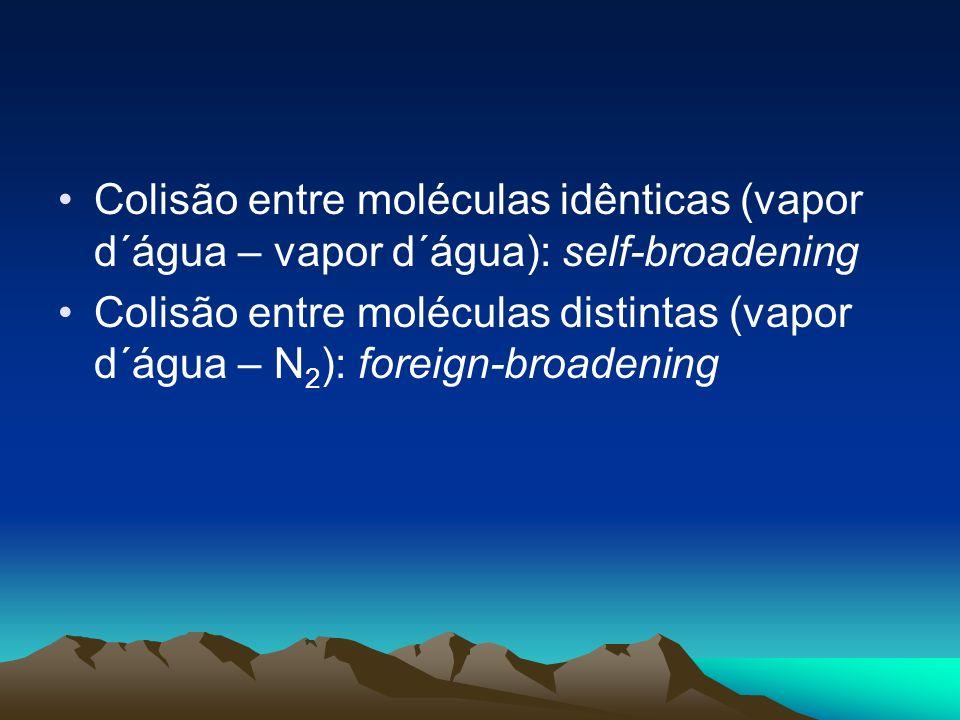 Colisão entre moléculas idênticas (vapor d´água – vapor d´água): self-broadening
