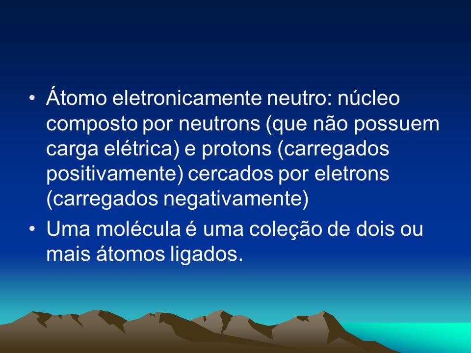 Átomo eletronicamente neutro: núcleo composto por neutrons (que não possuem carga elétrica) e protons (carregados positivamente) cercados por eletrons (carregados negativamente)