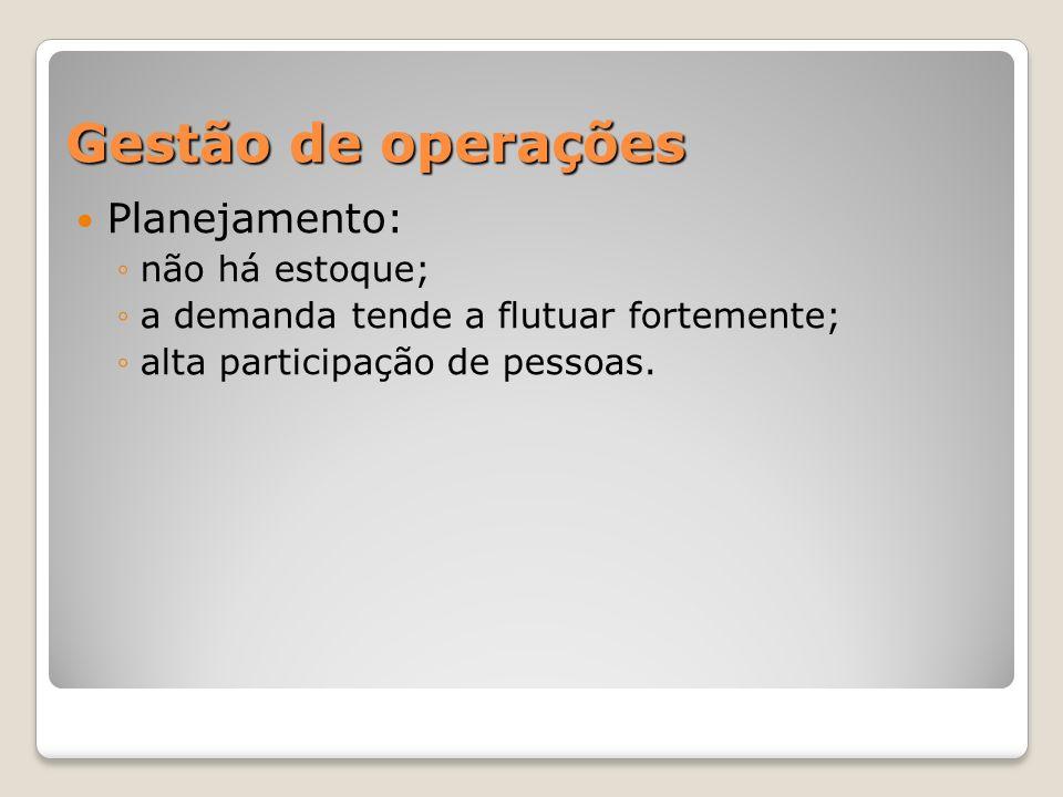 Gestão de operações Planejamento: não há estoque;