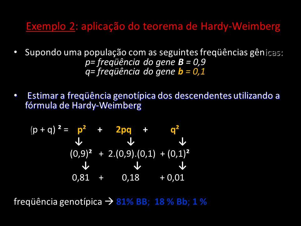 Exemplo 2: aplicação do teorema de Hardy-Weimberg