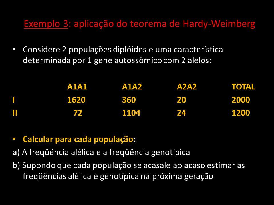 Exemplo 3: aplicação do teorema de Hardy-Weimberg