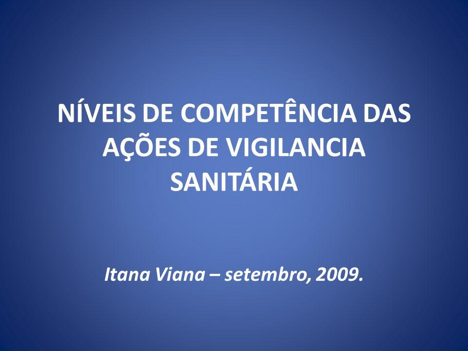NÍVEIS DE COMPETÊNCIA DAS AÇÕES DE VIGILANCIA SANITÁRIA