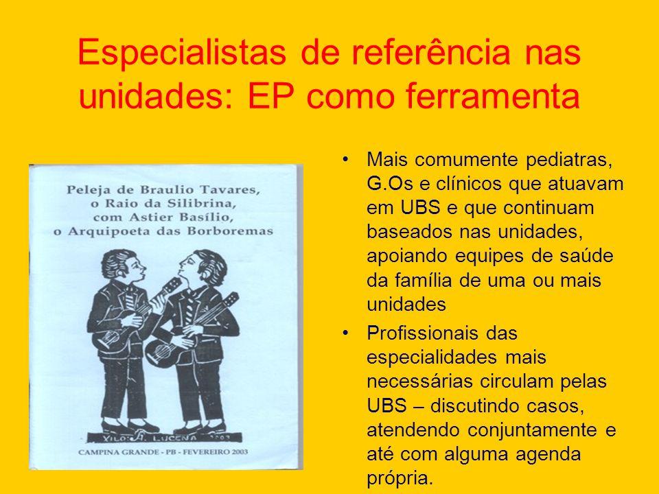 Especialistas de referência nas unidades: EP como ferramenta