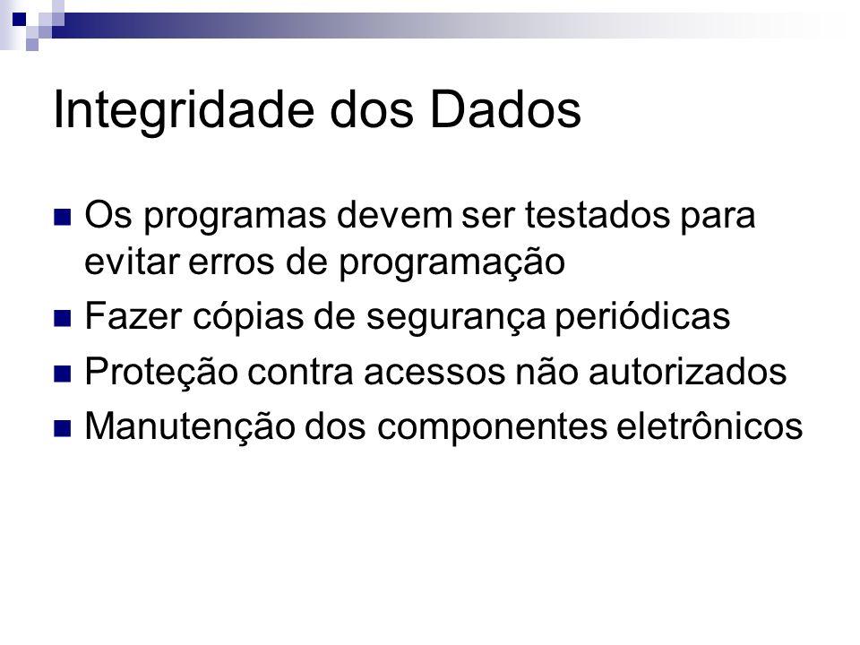 Integridade dos Dados Os programas devem ser testados para evitar erros de programação. Fazer cópias de segurança periódicas.