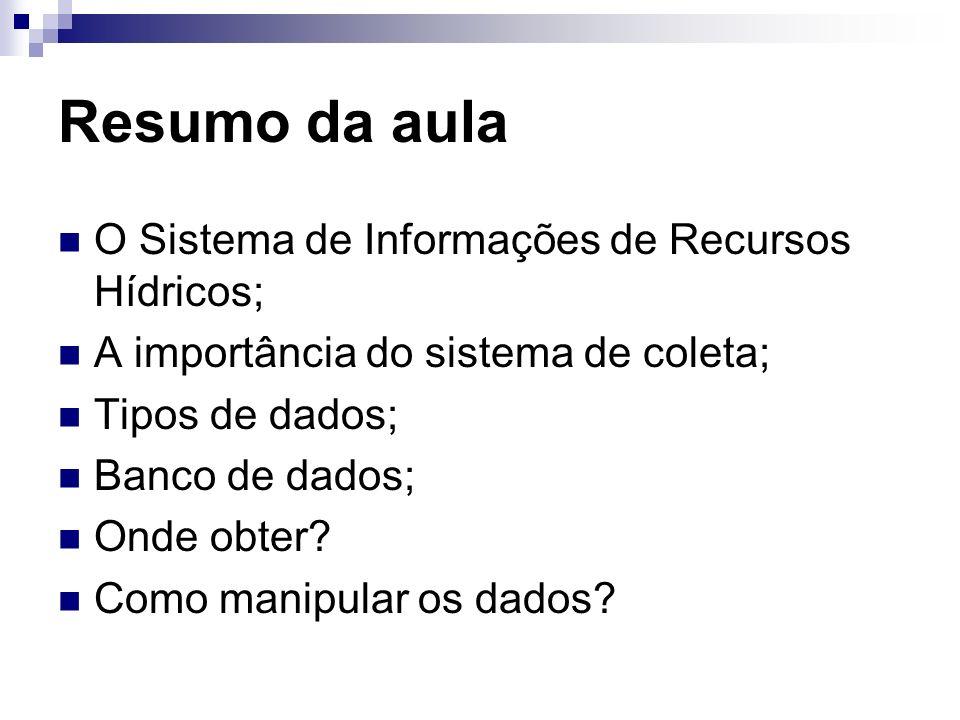 Resumo da aula O Sistema de Informações de Recursos Hídricos;