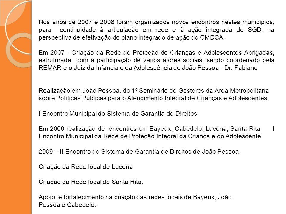 Nos anos de 2007 e 2008 foram organizados novos encontros nestes municípios, para continuidade à articulação em rede e à ação integrada do SGD, na perspectiva de efetivação do plano integrado de ação do CMDCA.
